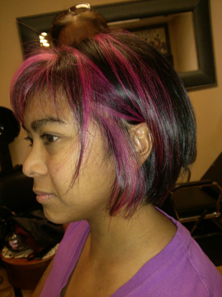 Dark Bob with Red Highlights - Side View